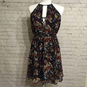 Lush - Backless Floral Navy Dress - L